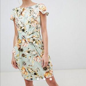 ASOS closet London floral cap sleeve pencil dress